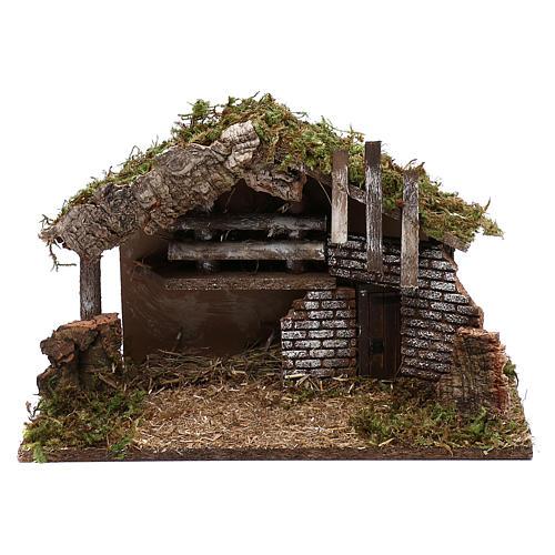 Cabaña para belén de madera y corcho 30x40x15 cm 1