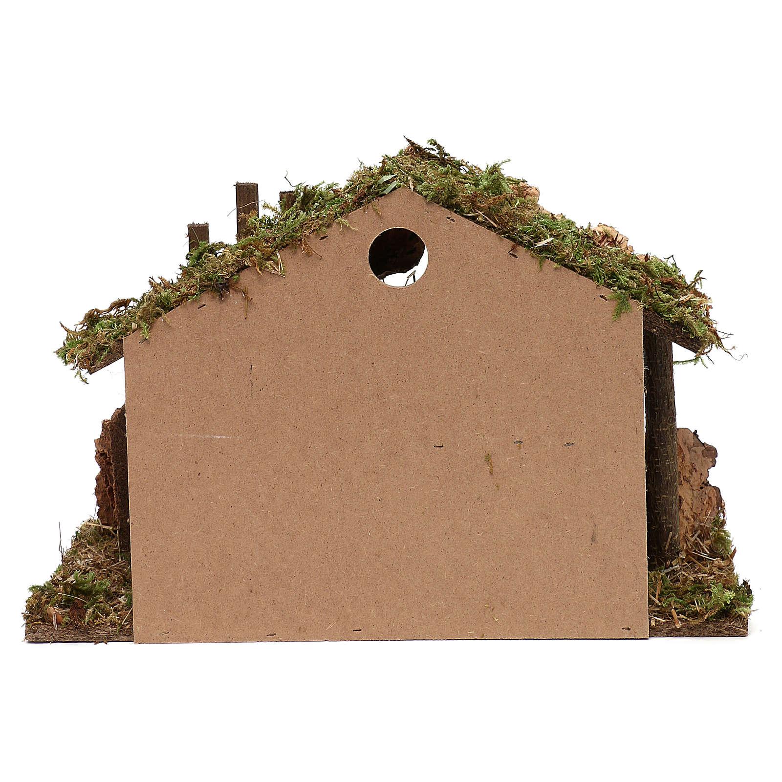 Cabana para presépio em madeira e cortiça 30x40x15 cm 4