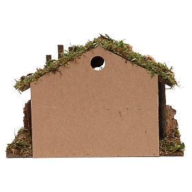 Cabana para presépio em madeira e cortiça 30x40x15 cm s4