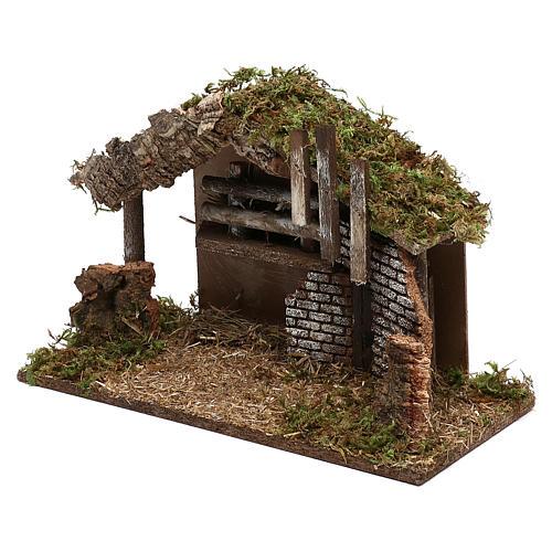 Cabana para presépio em madeira e cortiça 30x40x15 cm 2