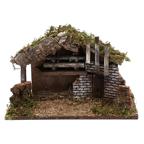 Stable for Nativity in wood and cork 30x40x15 cm 1