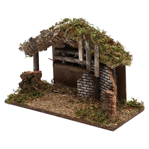 Stable for Nativity in wood and cork 30x40x15 cm 2