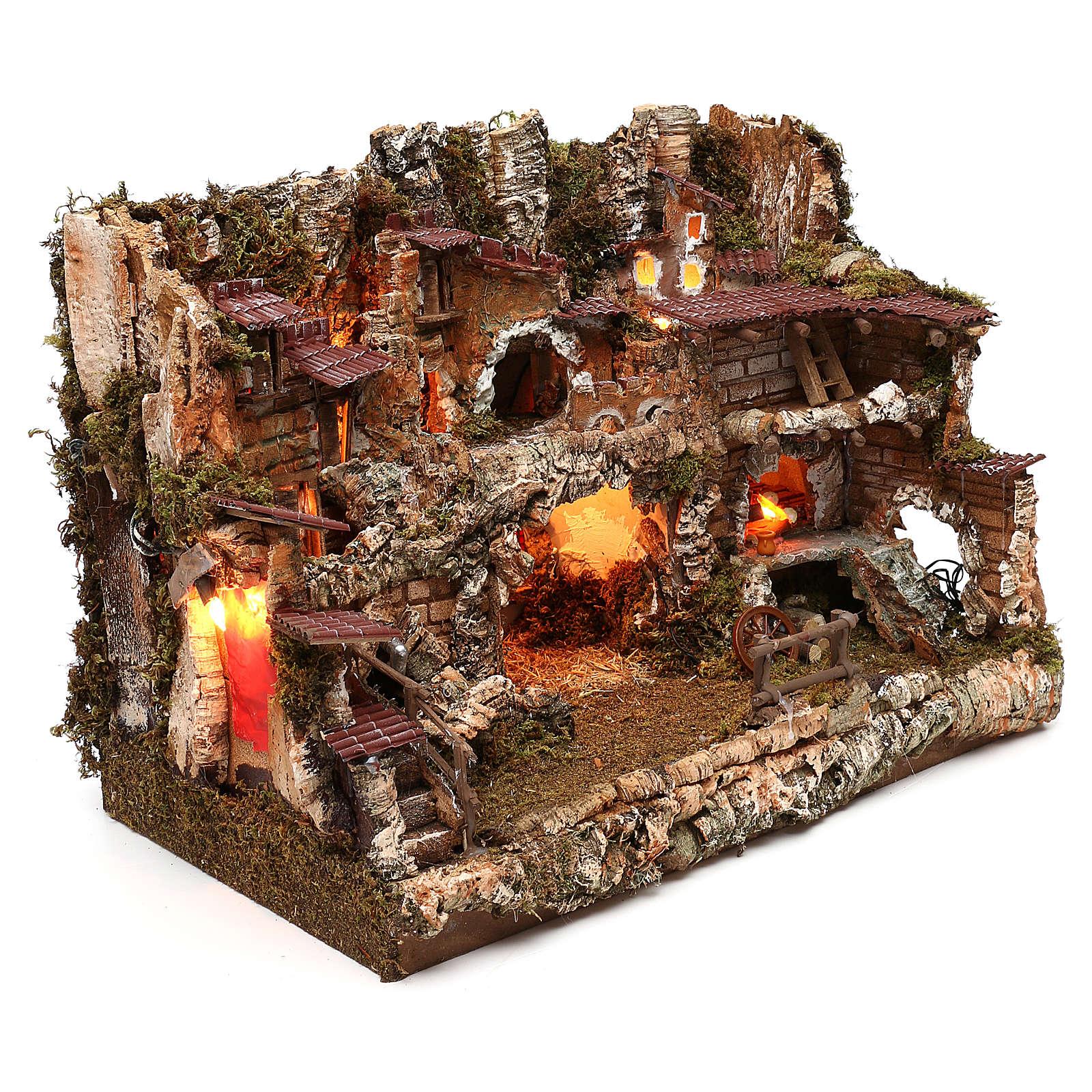 Pueblo con fuente y fuego 35x50x35 cm 4