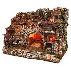 Pueblo con fuente y fuego 35x50x35 cm s2