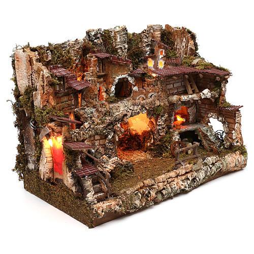 Pueblo con fuente y fuego 35x50x35 cm 3