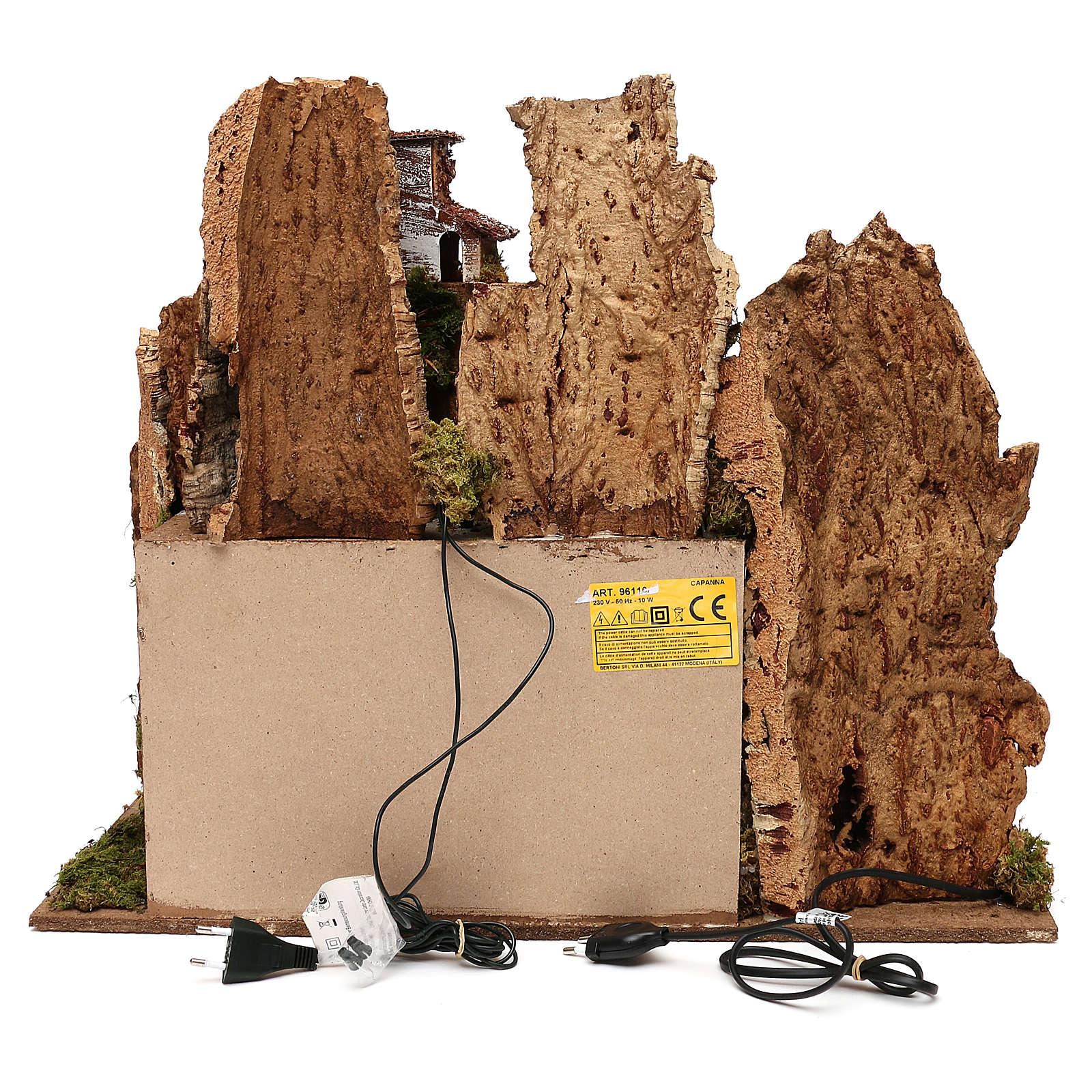 Pueblo con natividad Moranduzzo y efecto profundidad 50x60x30 cm 4