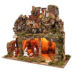 Pueblo con natividad Moranduzzo y efecto profundidad 50x60x30 cm s2