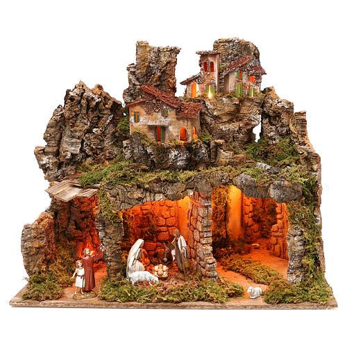 Pueblo con natividad Moranduzzo y efecto profundidad 50x60x30 cm 1