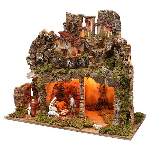 Pueblo con natividad Moranduzzo y efecto profundidad 50x60x30 cm 2