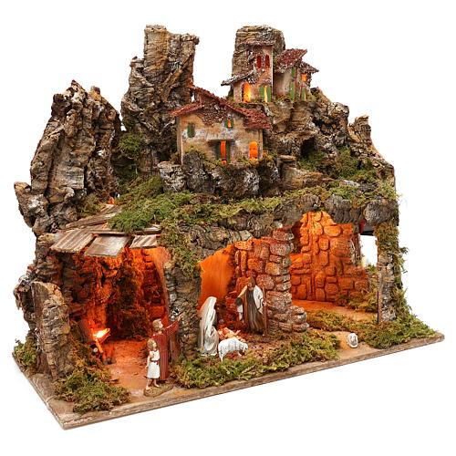 Pueblo con natividad Moranduzzo y efecto profundidad 50x60x30 cm 3