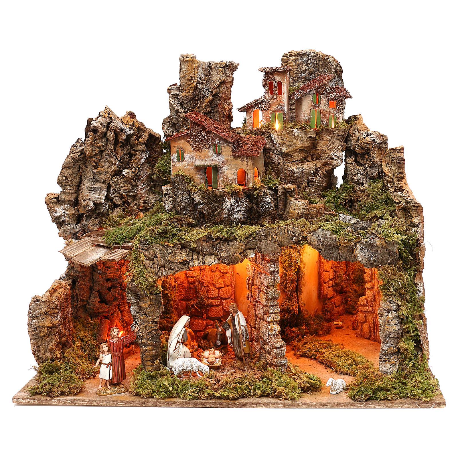 Bourgade avec nativité Moranduzzo et effet profondeur 50x60x30 cm 4