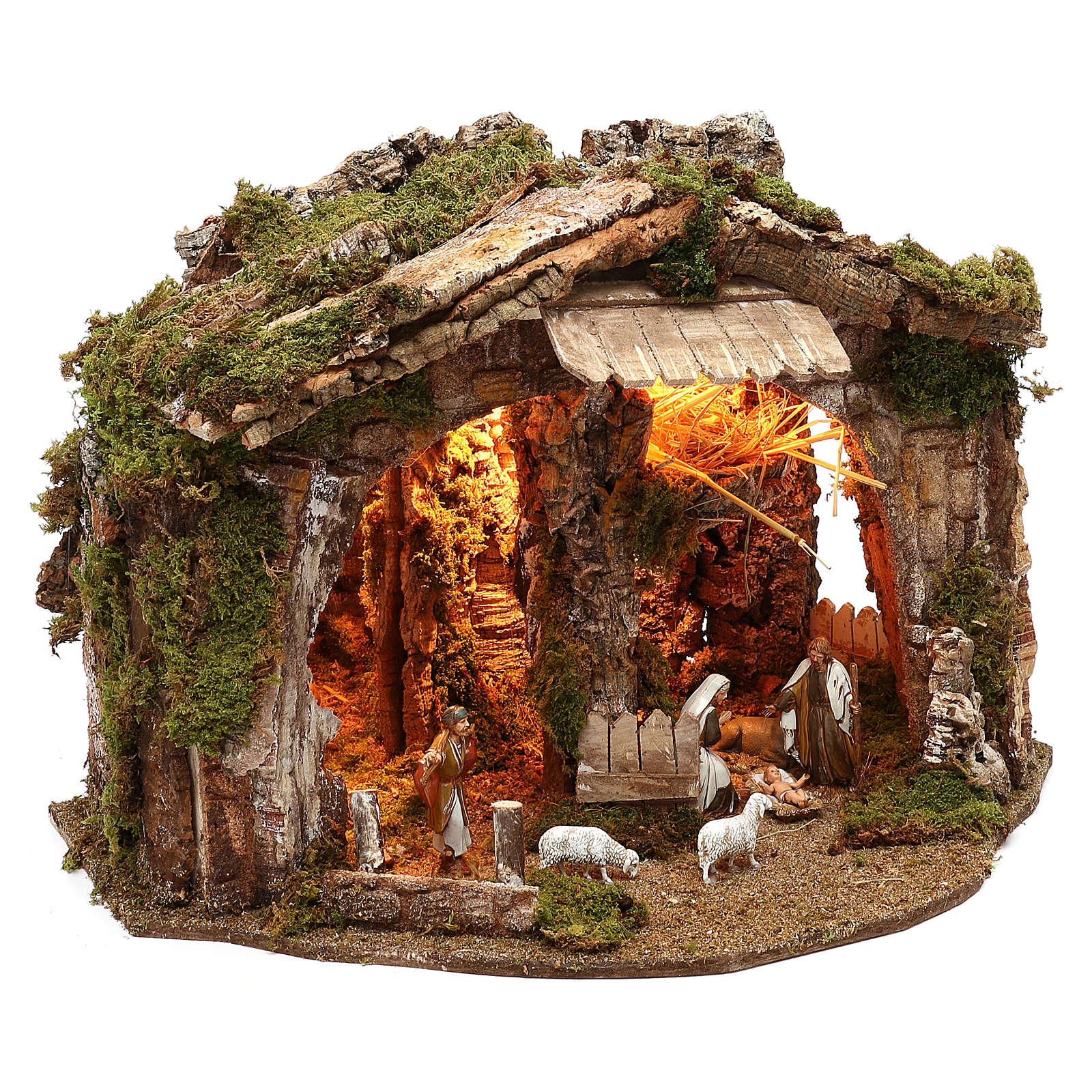 Cabaña con espejo y natividad 40x50x35 cm 4