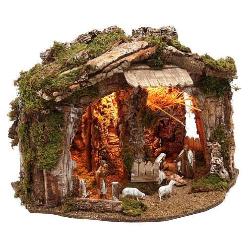 Cabaña con espejo y natividad 40x50x35 cm 3