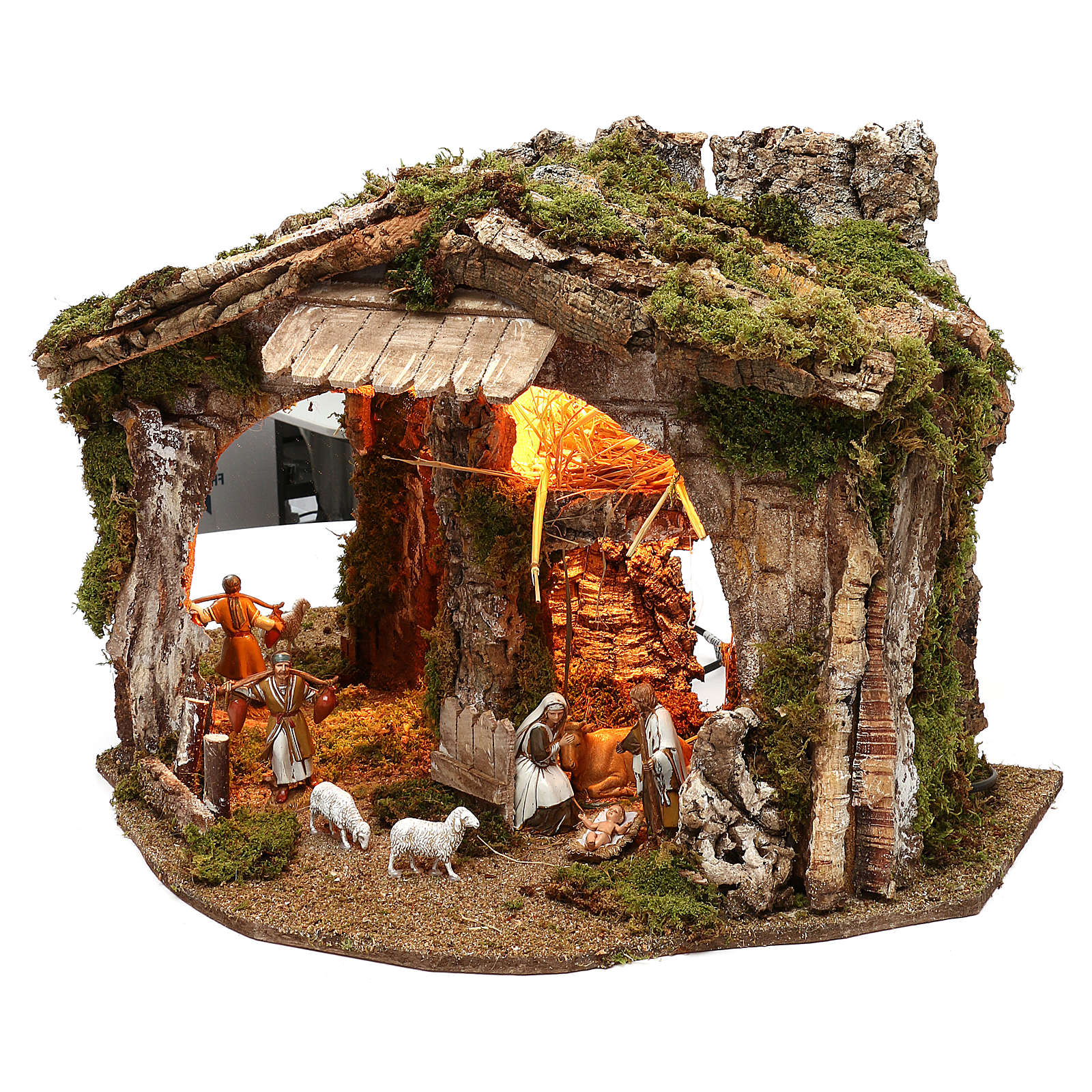Cabane avec miroir et nativité 40x50x35 cm 4