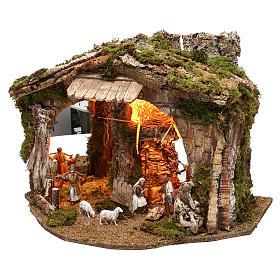 Cabane avec miroir et nativité 40x50x35 cm s2