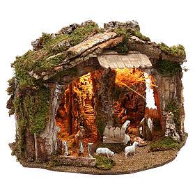 Cabane avec miroir et nativité 40x50x35 cm s3