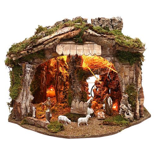 Cabane avec miroir et nativité 40x50x35 cm 1