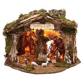 Cabanas e Grutas para Presépio: Cabana com espelho e Natividade 40x50x35 cm