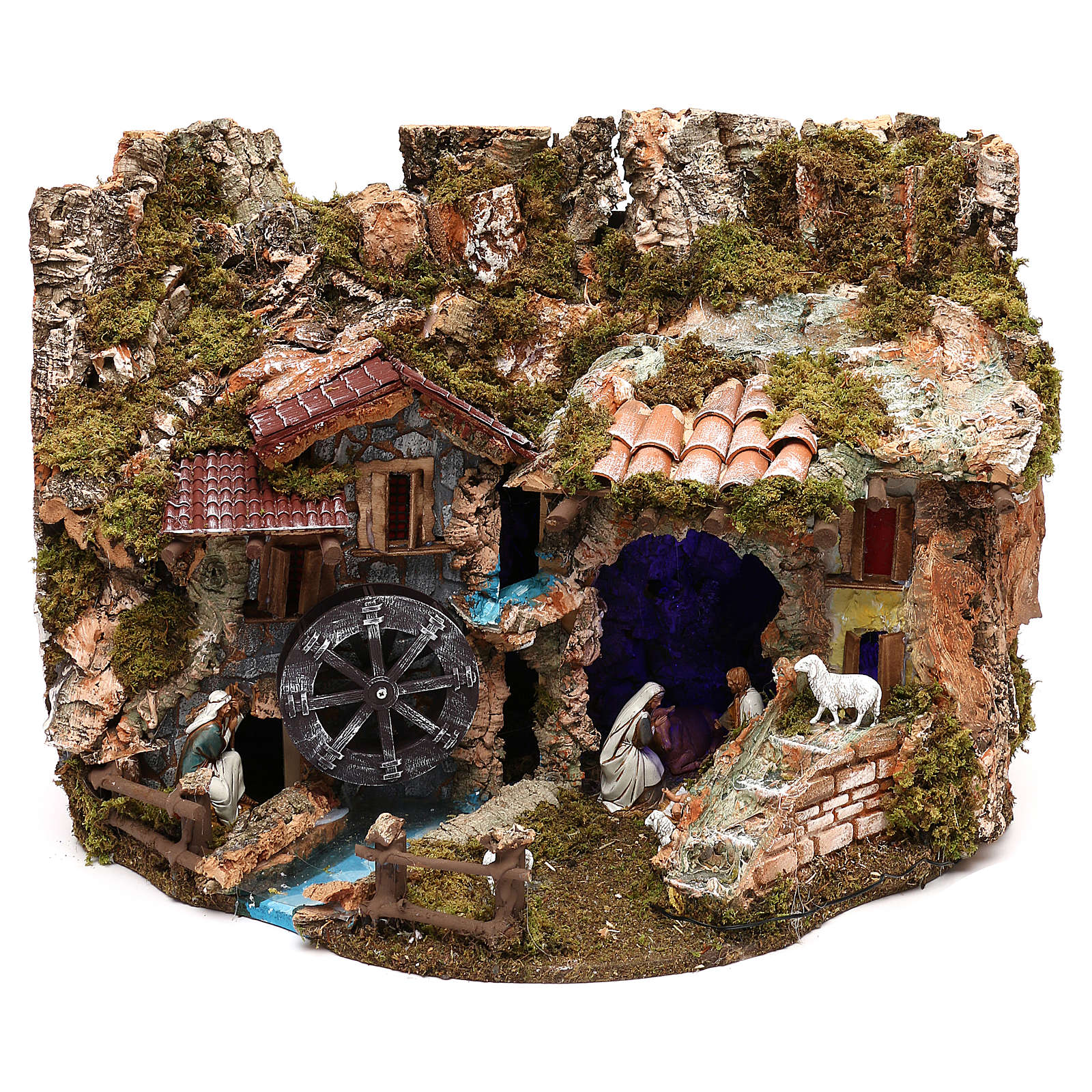 Paisaje con estatuas y molino de agua 40x55x40 cm Moranduzzo 4