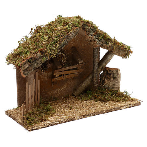 Nativity scene hut in wood and cork 25x35x15 cm 2