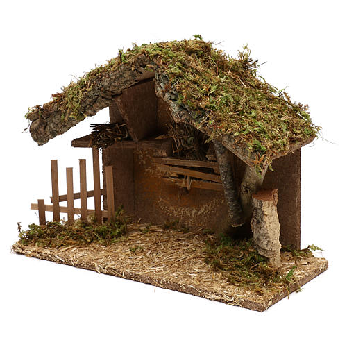 Nativity scene hut in wood and cork 25x35x15 cm 3