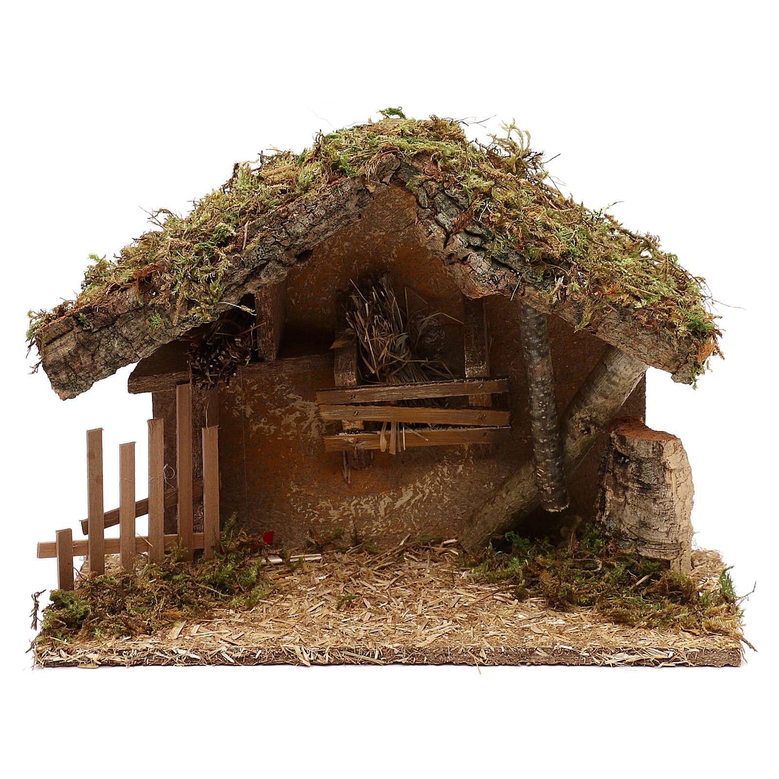 Cabaña para belén de madera y corcho 25x35x15 cm 4