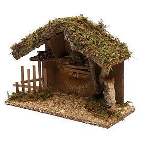 Cabaña para belén de madera y corcho 25x35x15 cm s3