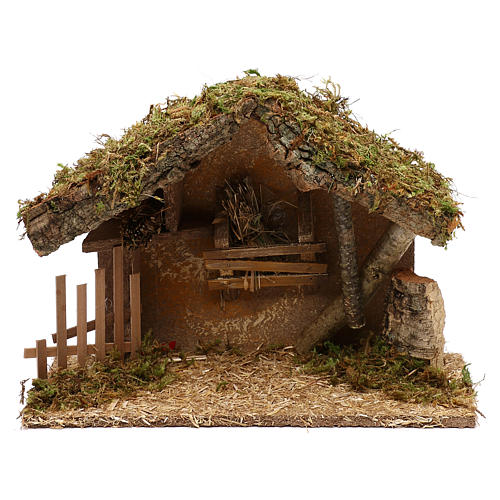 Cabaña para belén de madera y corcho 25x35x15 cm 1