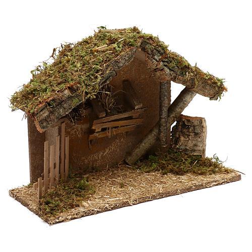 Cabaña para belén de madera y corcho 25x35x15 cm 2