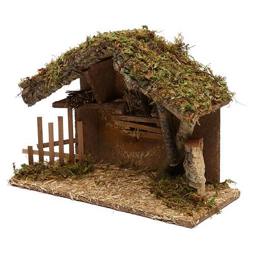 Cabaña para belén de madera y corcho 25x35x15 cm 3