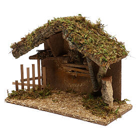 Nativity stable in wood and cork, 25x35x15 cm s3