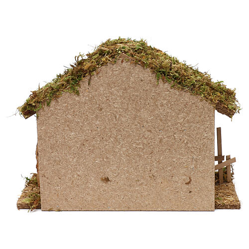 Nativity stable in wood and cork, 25x35x15 cm 4