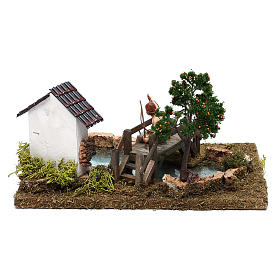 Pond with fisherman on a bridge for Nativity Scene 10 cm s4