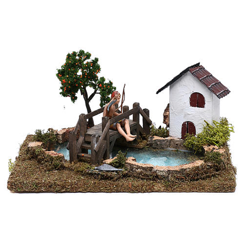 Pond with fisherman on a bridge for Nativity Scene 10 cm 1