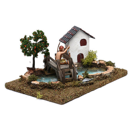 Pond with fisherman on a bridge for Nativity Scene 10 cm 3
