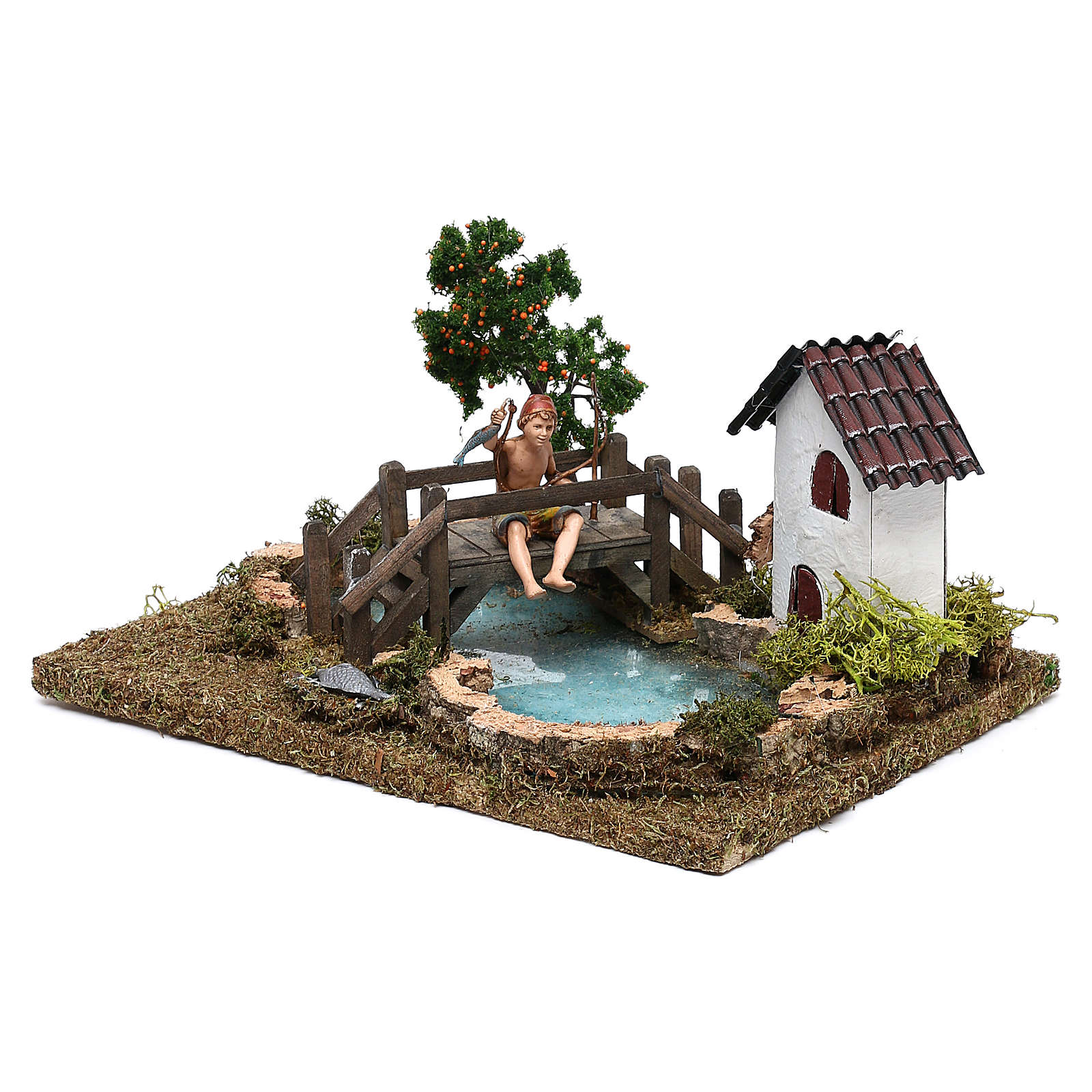 Lago com pescador no ponte para presépio com figuras de 10 cm de altura média 4