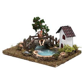 Lago com pescador no ponte para presépio com figuras de 10 cm de altura média s2