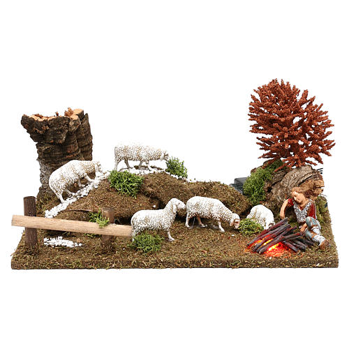 Scene with flock, shepherd and LED fire Nativity scene 10 cm 1