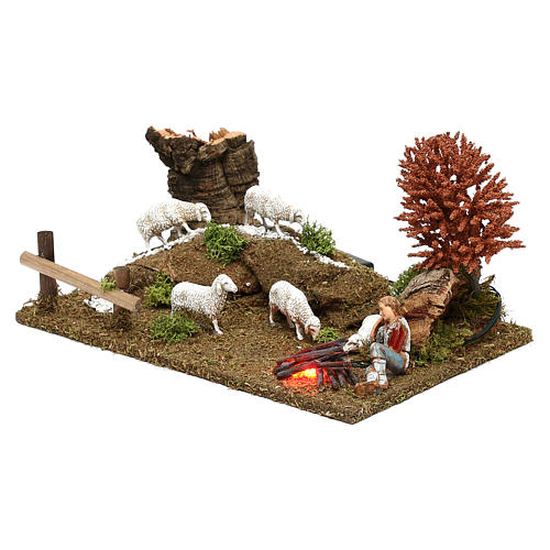 Scene with flock, shepherd and LED fire Nativity scene 10 cm 2