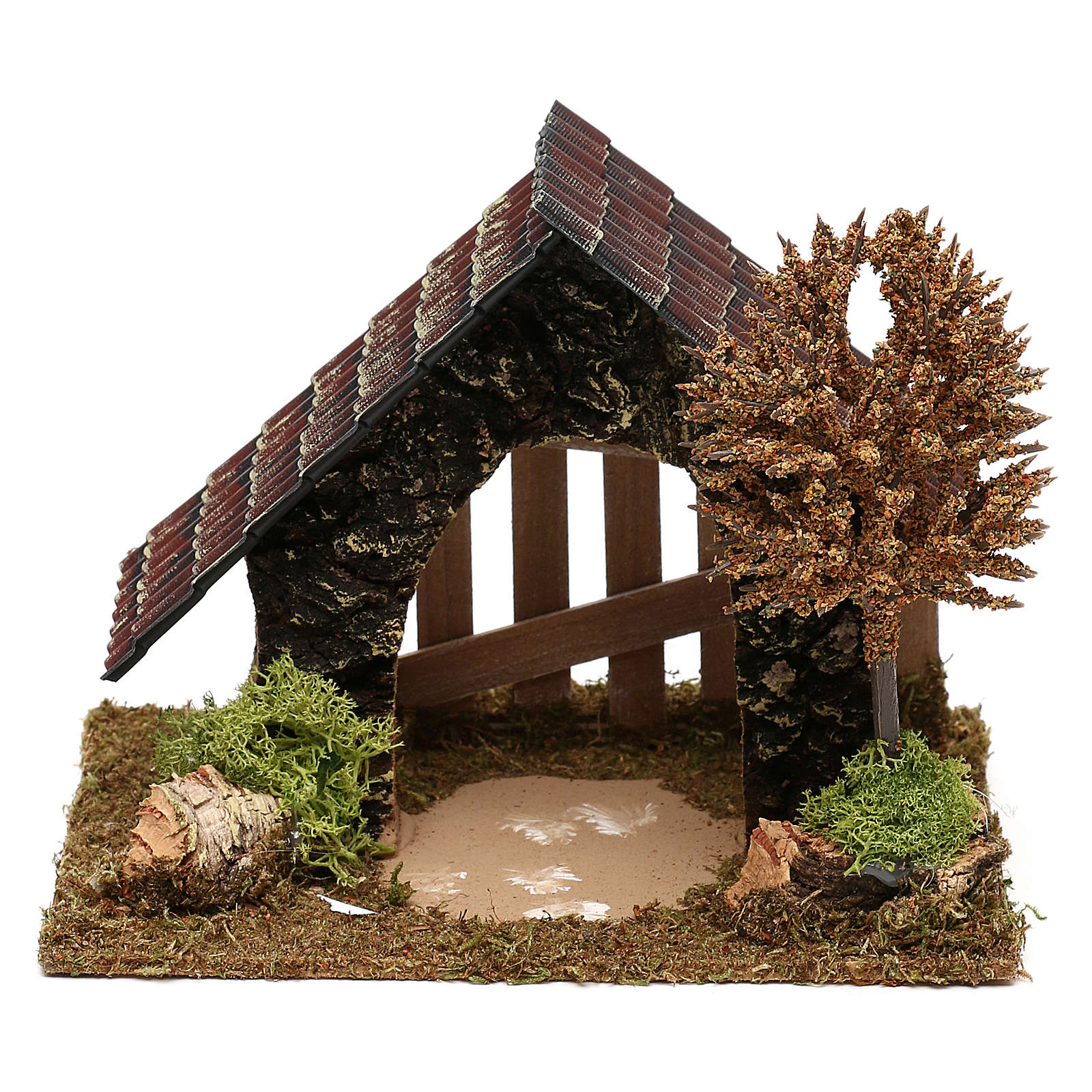 Cork hut with fence and tree Nativity scene 6 cm 4