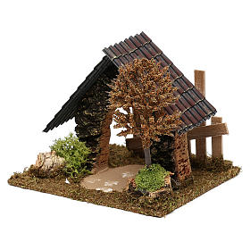 Cork hut with fence and tree Nativity scene 6 cm s2