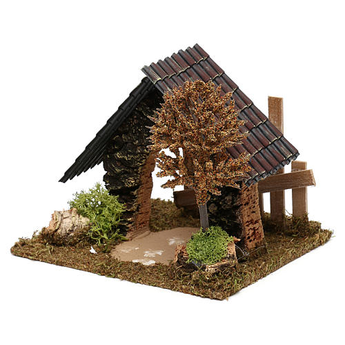 Cork hut with fence and tree Nativity scene 6 cm 2