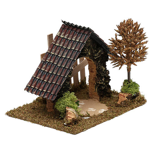 Cork hut with fence and tree Nativity scene 6 cm 3