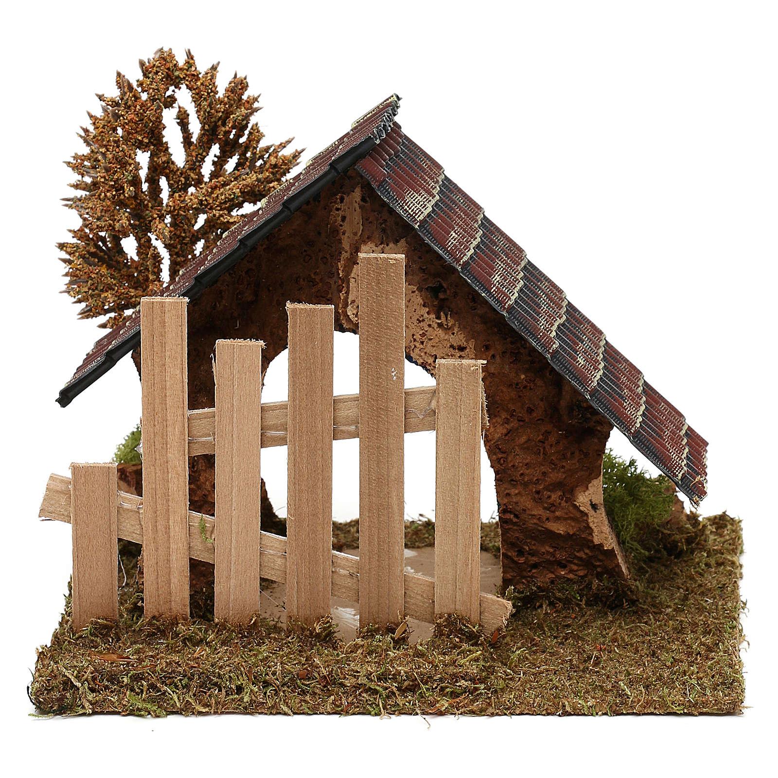 Cabaña de corcho con cerca y árbol belén 6 cm 4