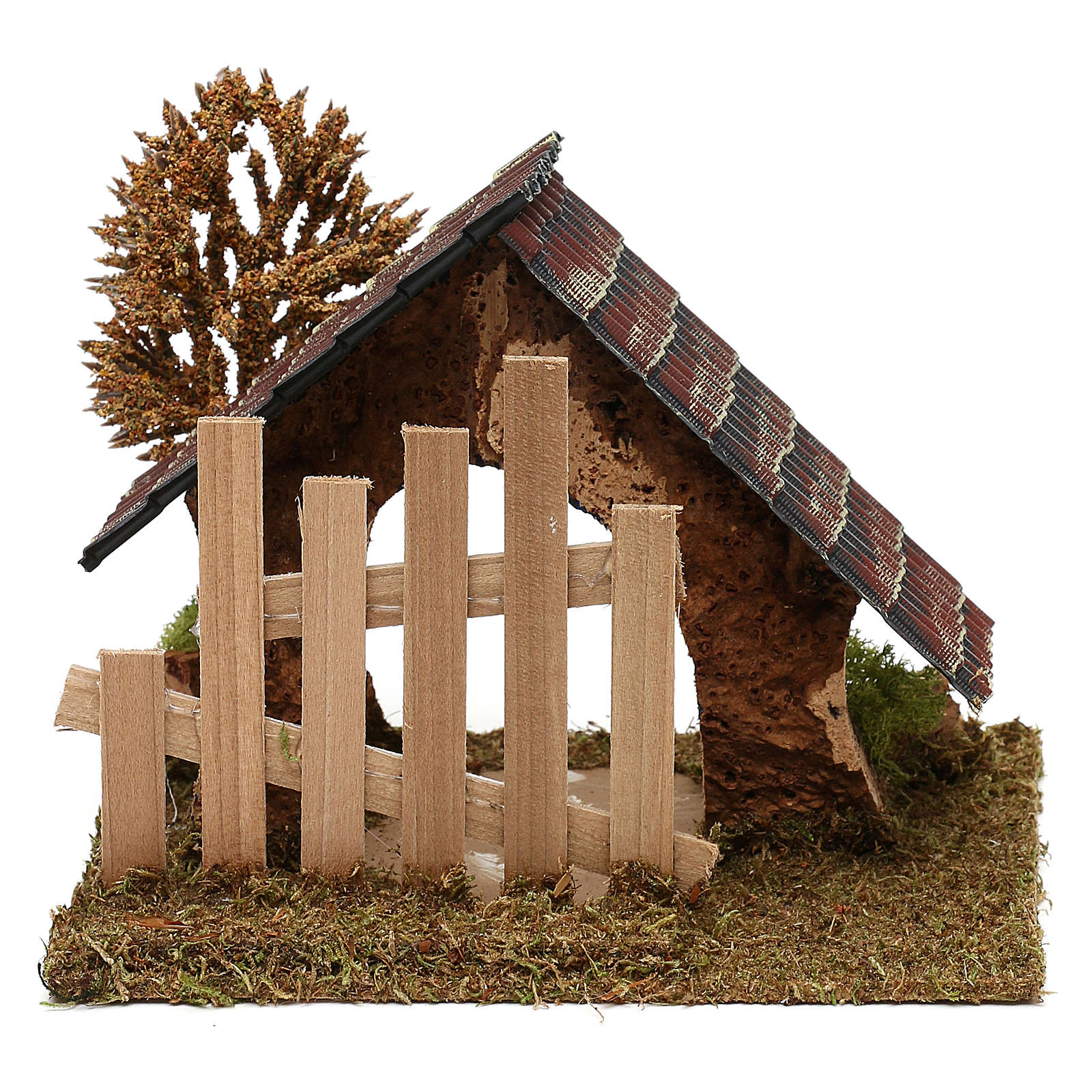 Cabane en liège avec palissade et arbre crèche 6 cm 4