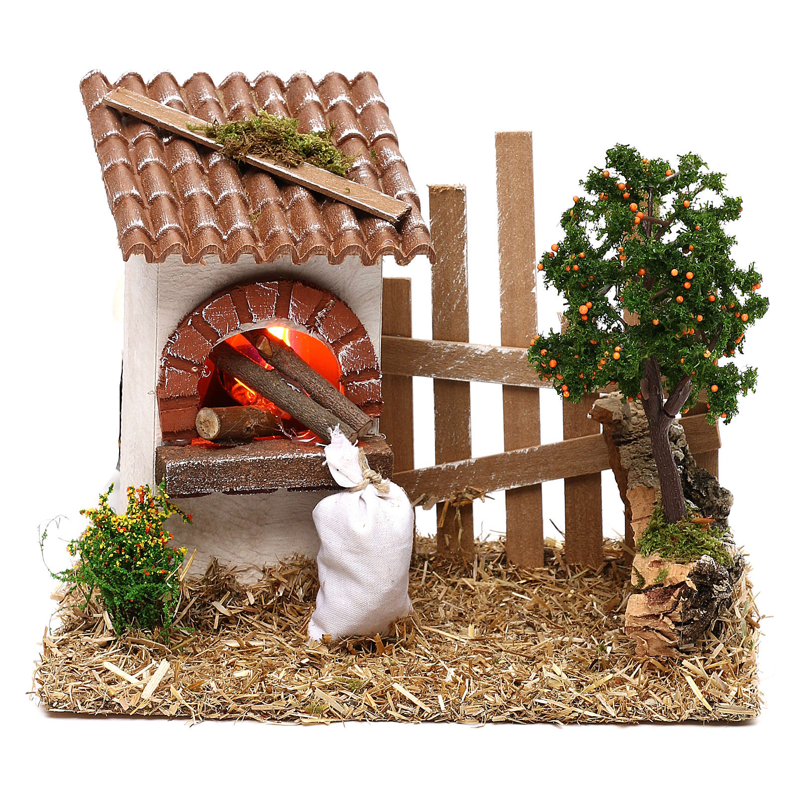 Oven for Nativity scene with fence for 8/10 cm figurines 4