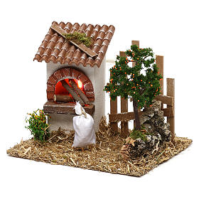 Oven for Nativity scene with fence for 8/10 cm figurines s2