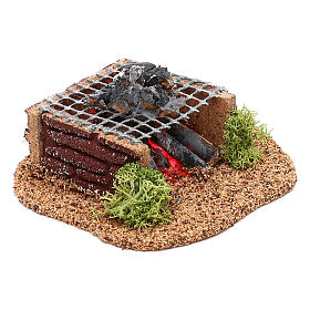 Grid with LED fire for Nativity scene 10 cm s2