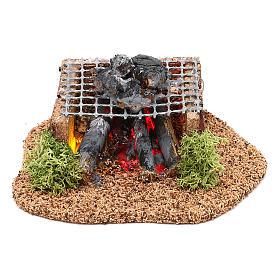 Fours et feux crèche: Barbecue avec feu LED pour crèche 10 cm