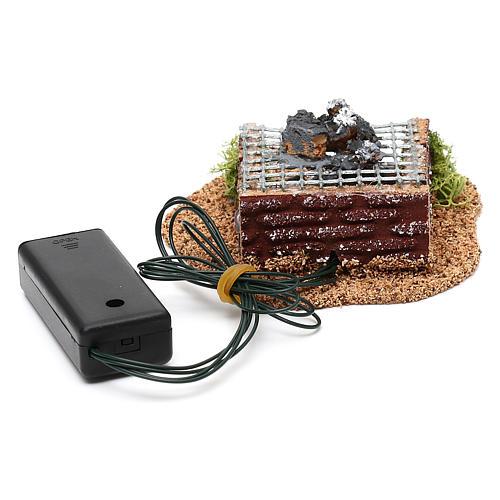 Barbecue avec feu LED pour crèche 10 cm 3
